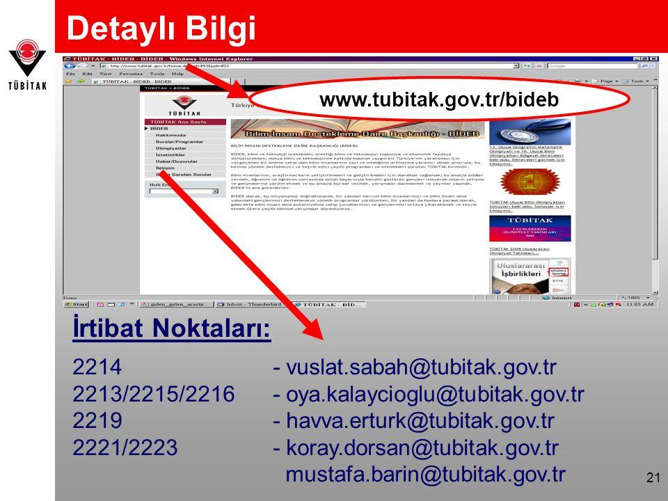Detaylı Bilgi İrtibat Noktaları: 2214 - vuslat.sabah@tubitak.gov.tr