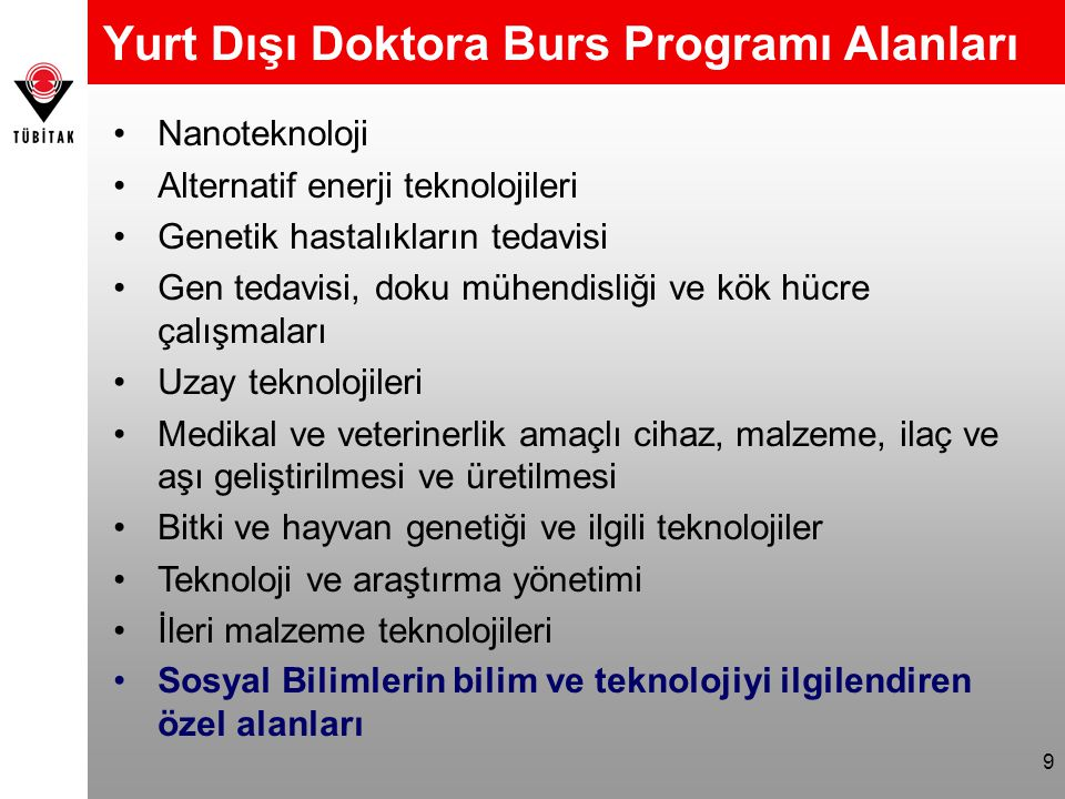 Yurt Dışı Doktora Burs Programı Alanları