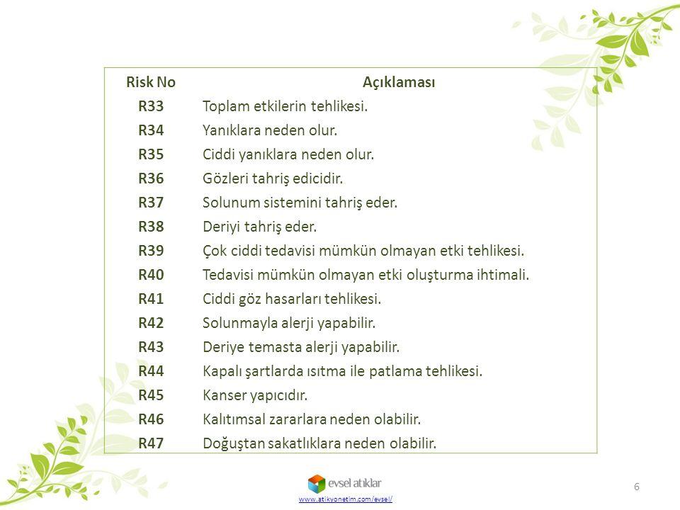 Toplam etkilerin tehlikesi. R34 Yanıklara neden olur. R35