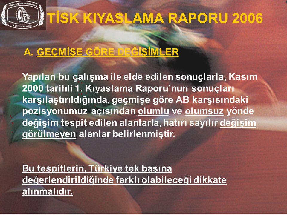 TİSK KIYASLAMA RAPORU 2006 A. GEÇMİŞE GÖRE DEĞİŞİMLER.