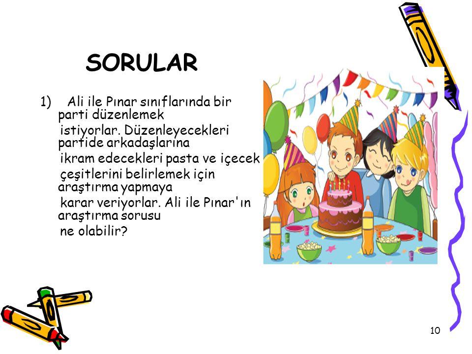SORULAR 1) Ali ile Pınar sınıflarında bir parti düzenlemek