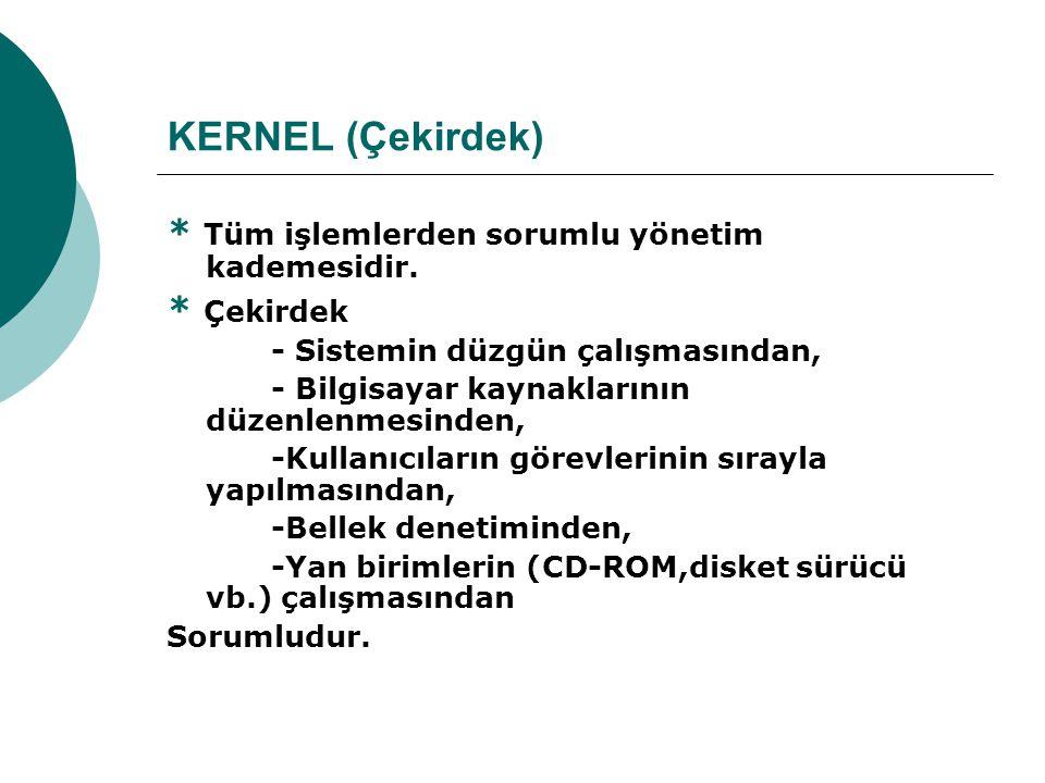 KERNEL (Çekirdek) * Tüm işlemlerden sorumlu yönetim kademesidir.
