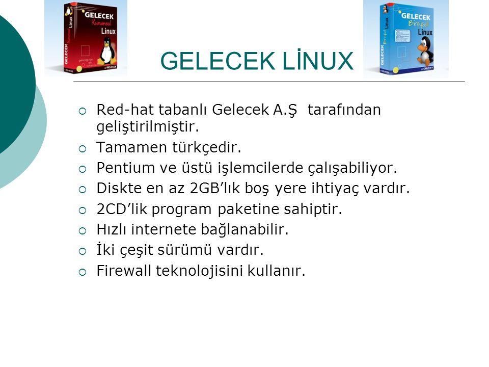 GELECEK LİNUX Red-hat tabanlı Gelecek A.Ş tarafından geliştirilmiştir.