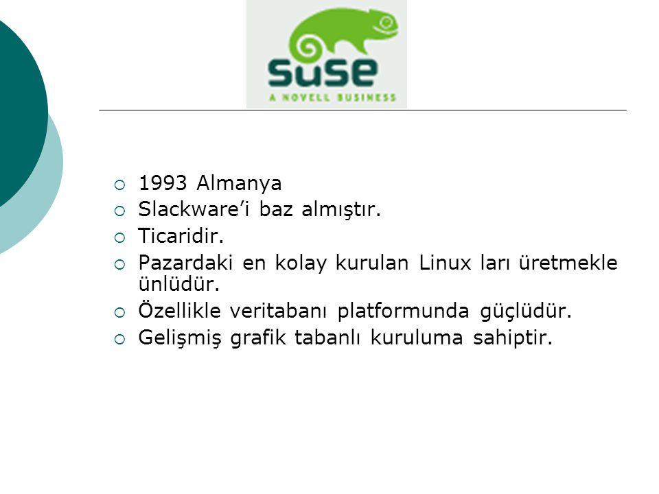 1993 Almanya Slackware'i baz almıştır. Ticaridir. Pazardaki en kolay kurulan Linux ları üretmekle ünlüdür.