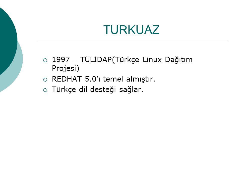 TURKUAZ 1997 – TÜLİDAP(Türkçe Linux Dağıtım Projesi)