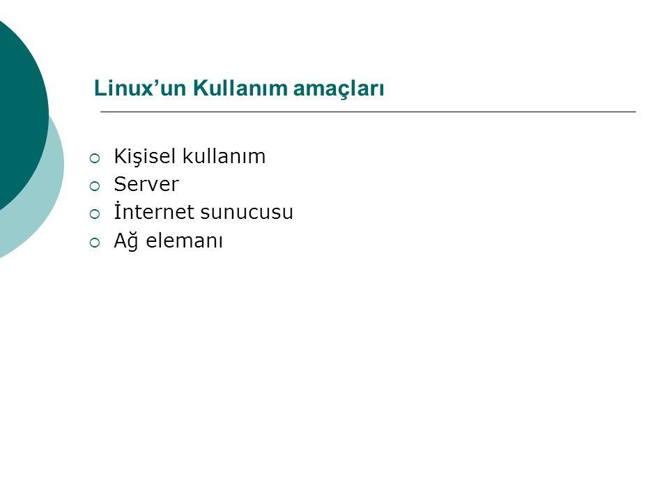 Linux'un Kullanım amaçları
