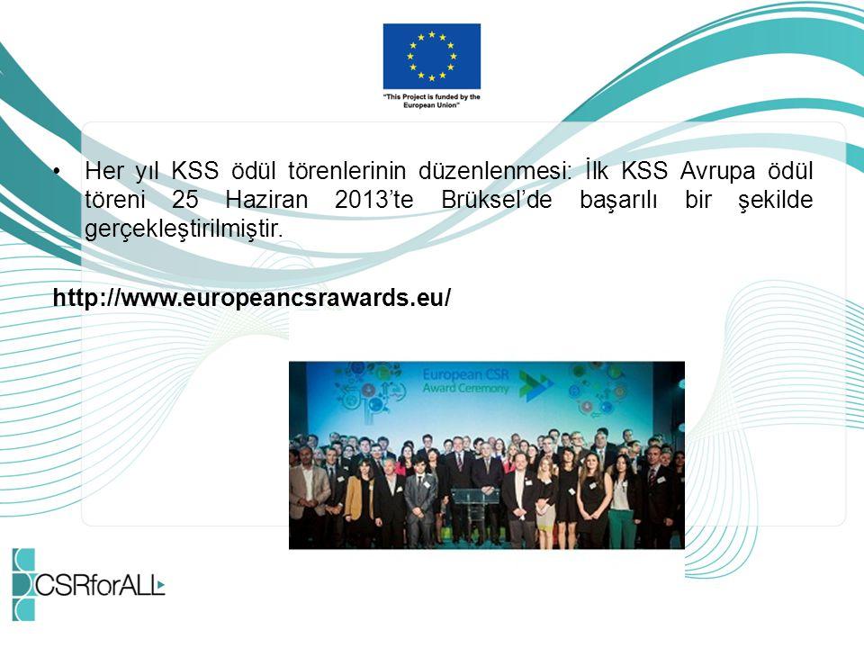 Her yıl KSS ödül törenlerinin düzenlenmesi: İlk KSS Avrupa ödül töreni 25 Haziran 2013'te Brüksel'de başarılı bir şekilde gerçekleştirilmiştir.