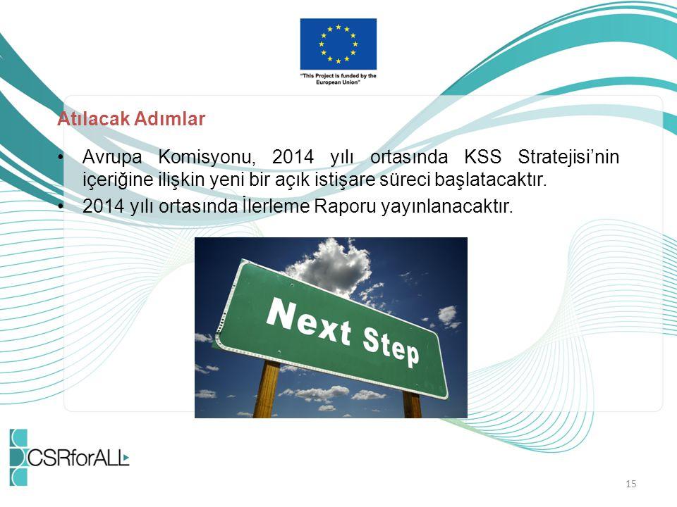Atılacak Adımlar Avrupa Komisyonu, 2014 yılı ortasında KSS Stratejisi'nin içeriğine ilişkin yeni bir açık istişare süreci başlatacaktır.