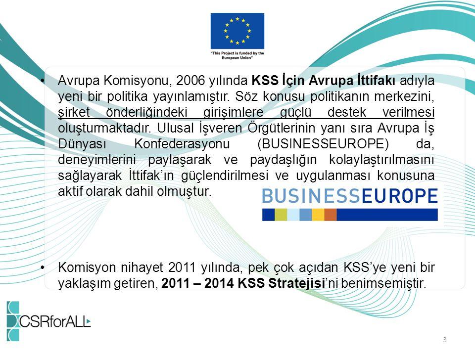 Avrupa Komisyonu, 2006 yılında KSS İçin Avrupa İttifakı adıyla yeni bir politika yayınlamıştır. Söz konusu politikanın merkezini, şirket önderliğindeki girişimlere güçlü destek verilmesi oluşturmaktadır. Ulusal İşveren Örgütlerinin yanı sıra Avrupa İş Dünyası Konfederasyonu (BUSINESSEUROPE) da, deneyimlerini paylaşarak ve paydaşlığın kolaylaştırılmasını sağlayarak İttifak'ın güçlendirilmesi ve uygulanması konusuna aktif olarak dahil olmuştur.