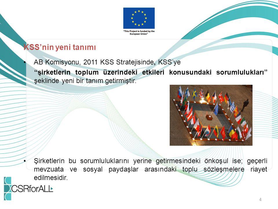 KSS'nin yeni tanımı AB Komisyonu, 2011 KSS Stratejisinde, KSS'ye
