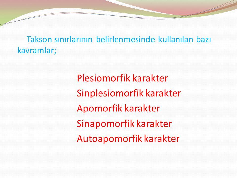 Plesiomorfik karakter Sinplesiomorfik karakter Apomorfik karakter