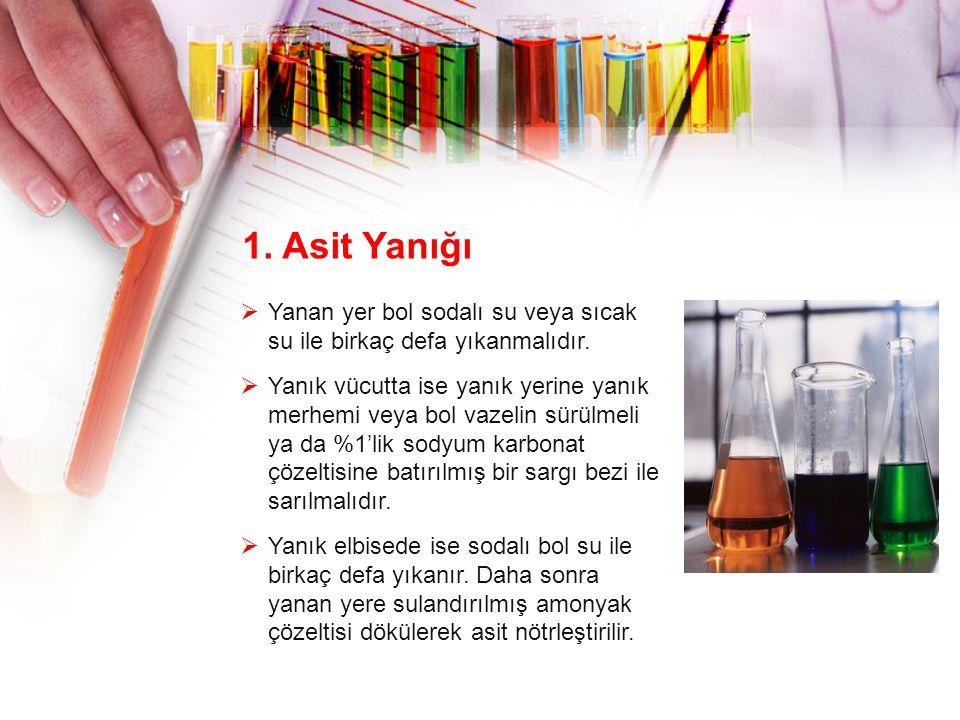 1. Asit Yanığı Yanan yer bol sodalı su veya sıcak su ile birkaç defa yıkanmalıdır.