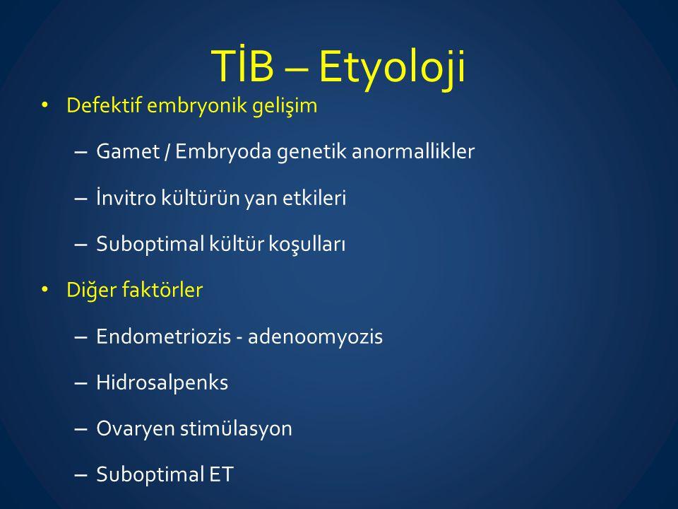 TİB – Etyoloji Defektif embryonik gelişim