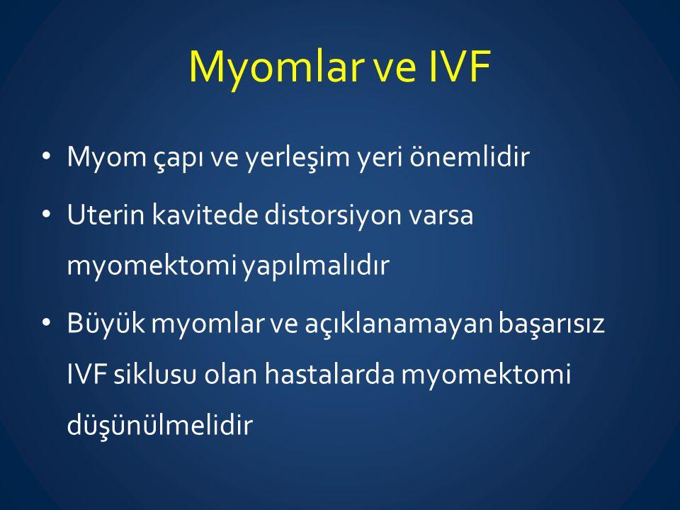 Myomlar ve IVF Myom çapı ve yerleşim yeri önemlidir