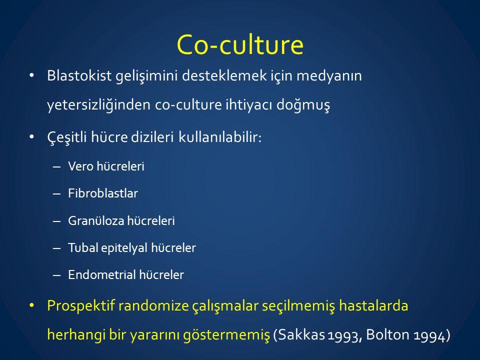 Co-culture Blastokist gelişimini desteklemek için medyanın yetersizliğinden co-culture ihtiyacı doğmuş.