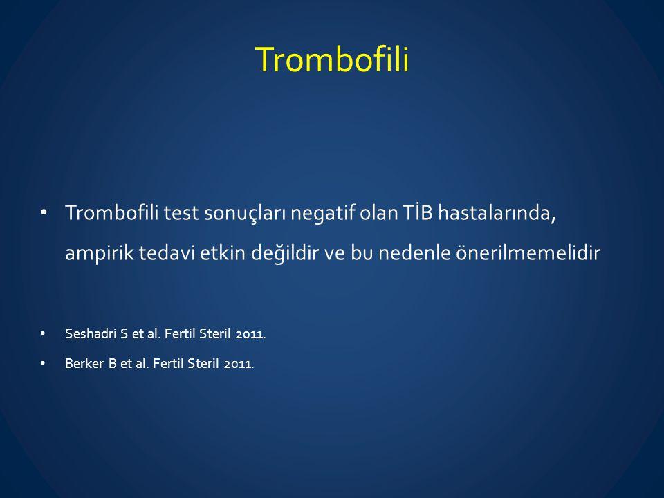 Trombofili Trombofili test sonuçları negatif olan TİB hastalarında, ampirik tedavi etkin değildir ve bu nedenle önerilmemelidir.