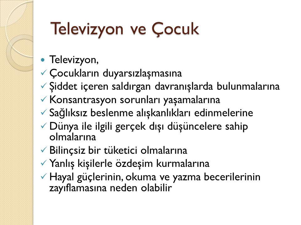 Televizyon ve Çocuk Televizyon, Çocukların duyarsızlaşmasına