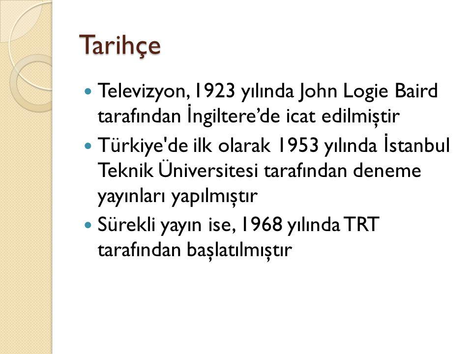 Tarihçe Televizyon, 1923 yılında John Logie Baird tarafından İngiltere'de icat edilmiştir.