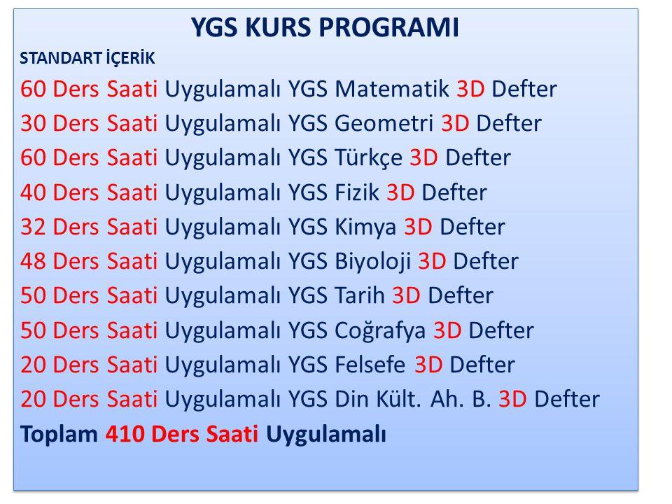 YGS KURS PROGRAMI 60 Ders Saati Uygulamalı YGS Matematik 3D Defter