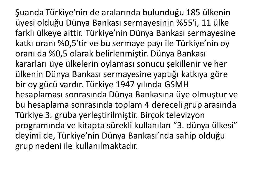 Şuanda Türkiye'nin de aralarında bulunduğu 185 ülkenin üyesi olduğu Dünya Bankası sermayesinin %55′i, 11 ülke farklı ülkeye aittir.