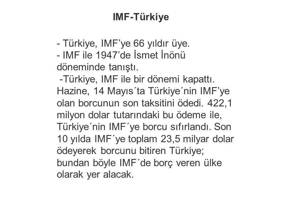 IMF-Türkiye - Türkiye, IMF'ye 66 yıldır üye. - IMF ile 1947'de İsmet İnönü döneminde tanıştı.