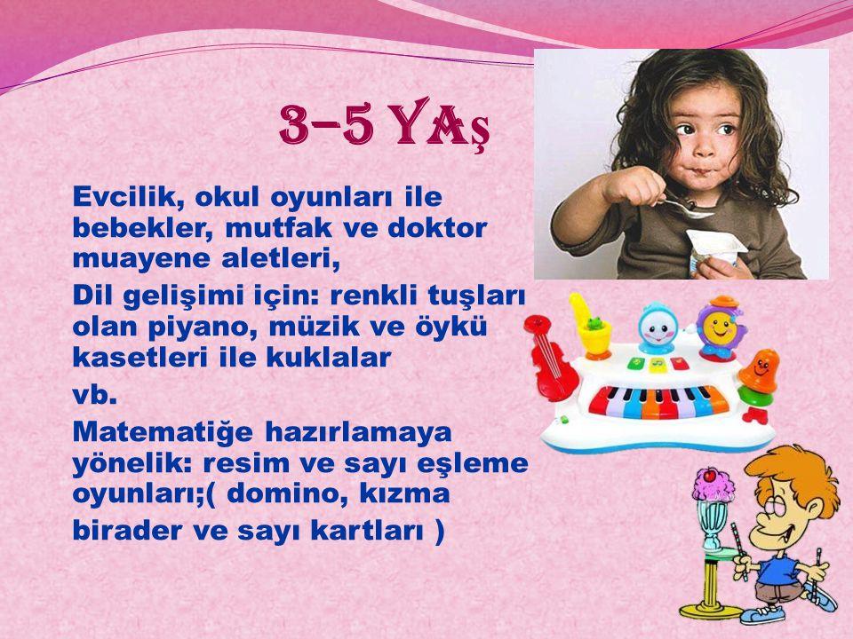 3–5 yaş Evcilik, okul oyunları ile bebekler, mutfak ve doktor muayene aletleri,