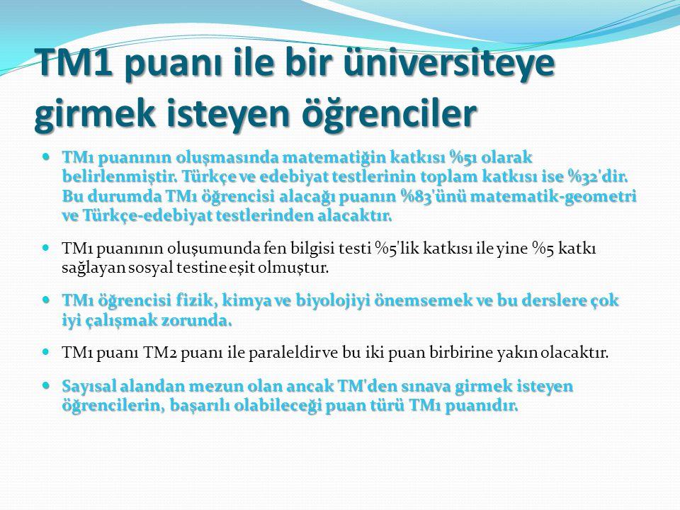 TM1 puanı ile bir üniversiteye girmek isteyen öğrenciler