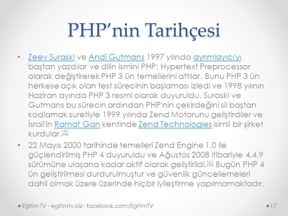PHP'nin Tarihçesi