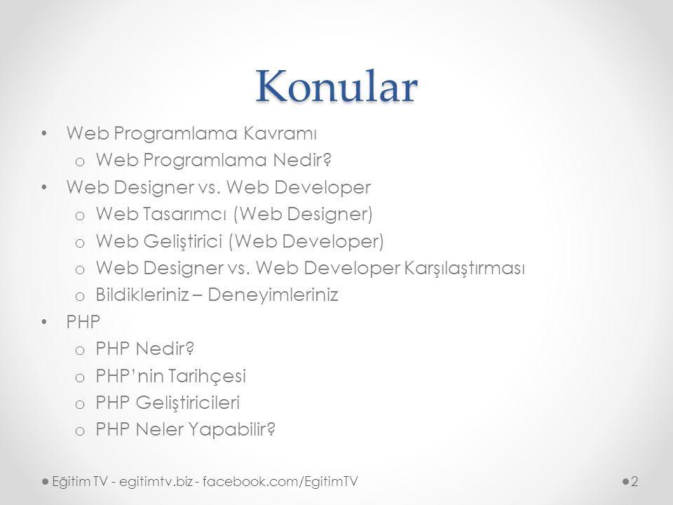 Konular Web Programlama Kavramı Web Programlama Nedir