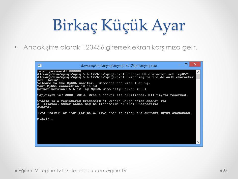 Birkaç Küçük Ayar Ancak şifre olarak 123456 girersek ekran karşımıza gelir.