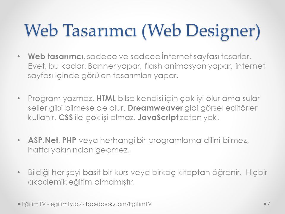 Web Tasarımcı (Web Designer)