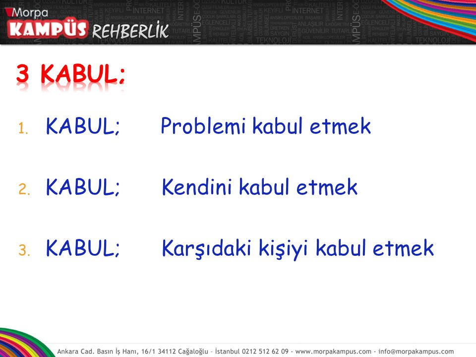 3 KABUL; KABUL; Problemi kabul etmek KABUL; Kendini kabul etmek