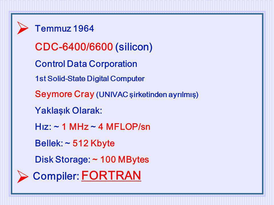   CDC-6400/6600 (silicon) Compiler: FORTRAN Temmuz 1964