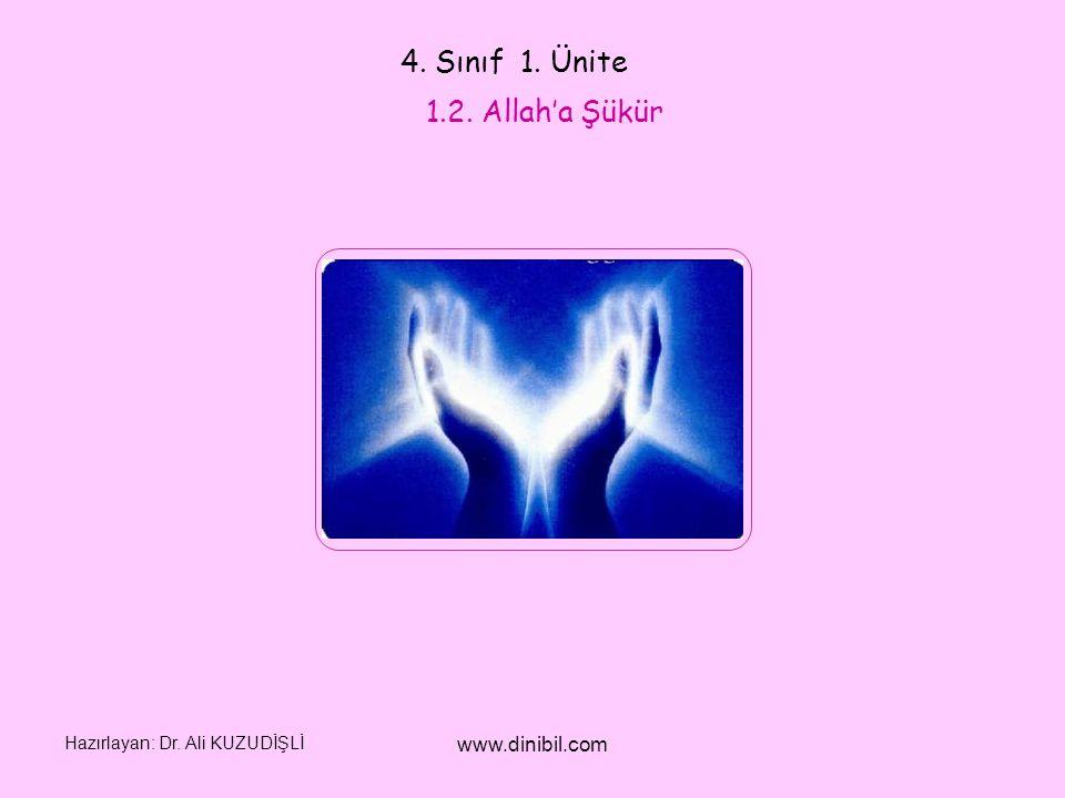 4. Sınıf 1. Ünite 1.2. Allah'a Şükür www.dinibil.com