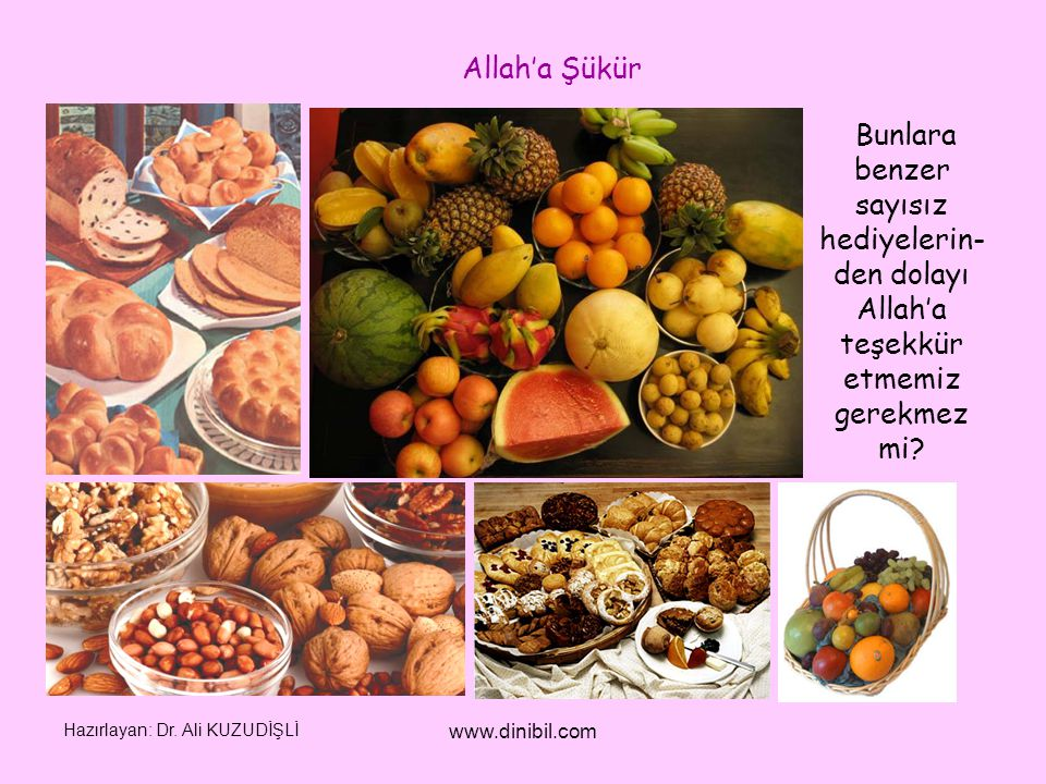 Allah'a Şükür Bunlara benzer sayısız hediyelerin-den dolayı Allah'a teşekkür etmemiz gerekmez mi Hazırlayan: Dr. Ali KUZUDİŞLİ.