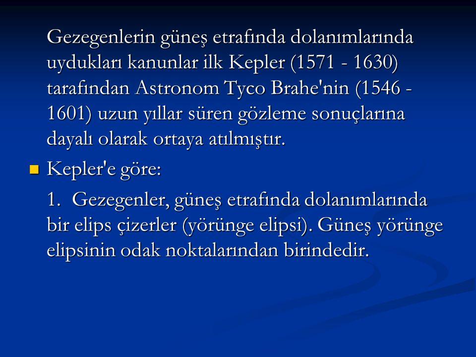 Gezegenlerin güneş etrafında dolanımlarında uydukları kanunlar ilk Kepler (1571 - 1630) tarafından Astronom Tyco Brahe nin (1546 - 1601) uzun yıllar süren gözleme sonuçlarına dayalı olarak ortaya atılmıştır.