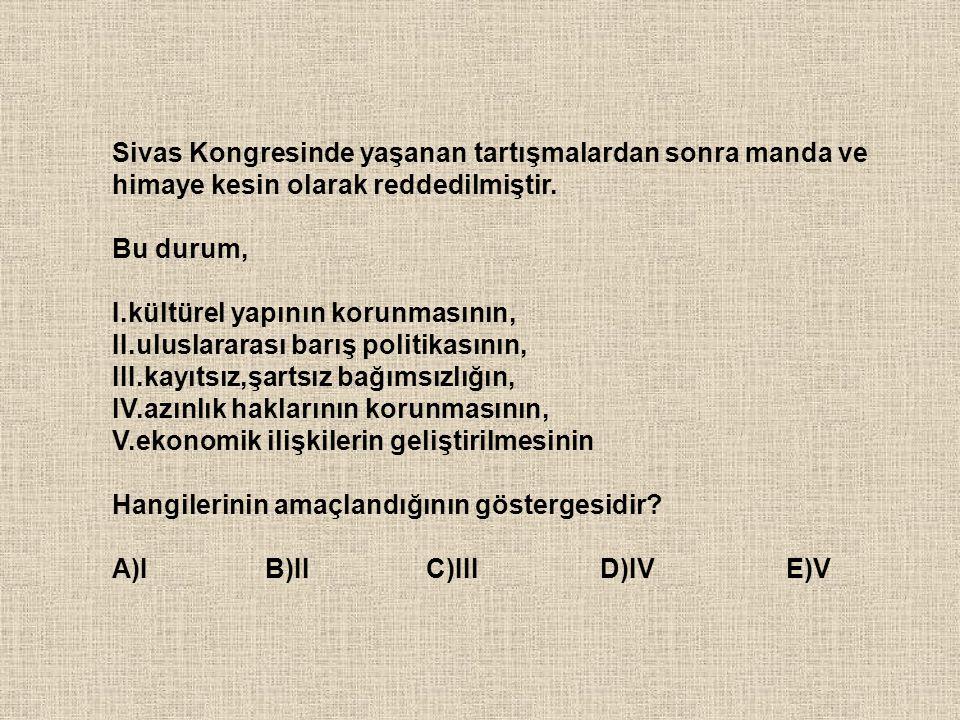 Sivas Kongresinde yaşanan tartışmalardan sonra manda ve himaye kesin olarak reddedilmiştir.