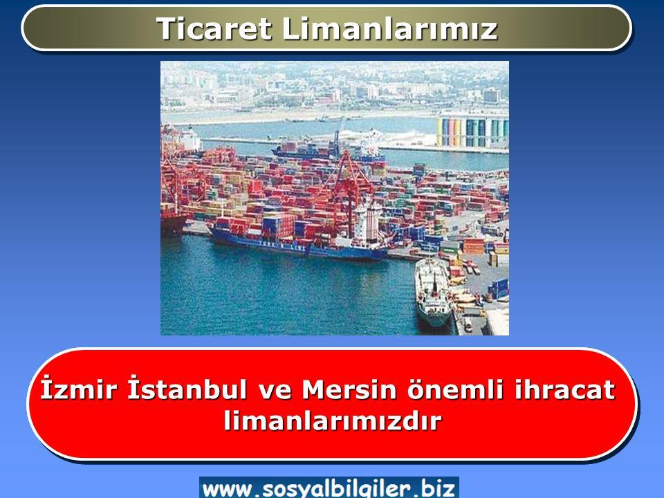 Ticaret Limanlarımız İzmir İstanbul ve Mersin önemli ihracat