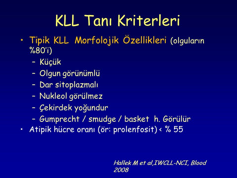 KLL Tanı Kriterleri Tipik KLL Morfolojik Özellikleri (olguların %80'i)