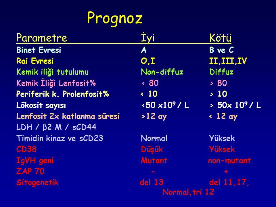 Prognoz Parametre İyi Kötü Binet Evresi A B ve C