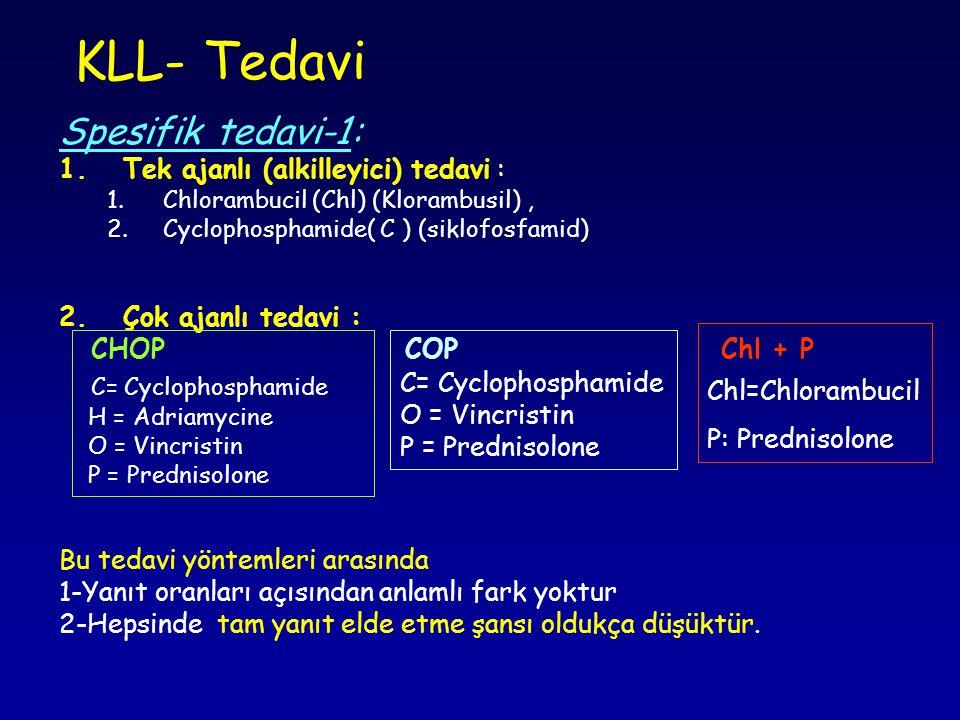 KLL- Tedavi Spesifik tedavi-1: Tek ajanlı (alkilleyici) tedavi :