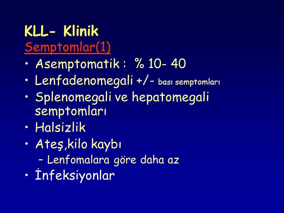 KLL- Klinik Semptomlar(1) Asemptomatik : % 10- 40