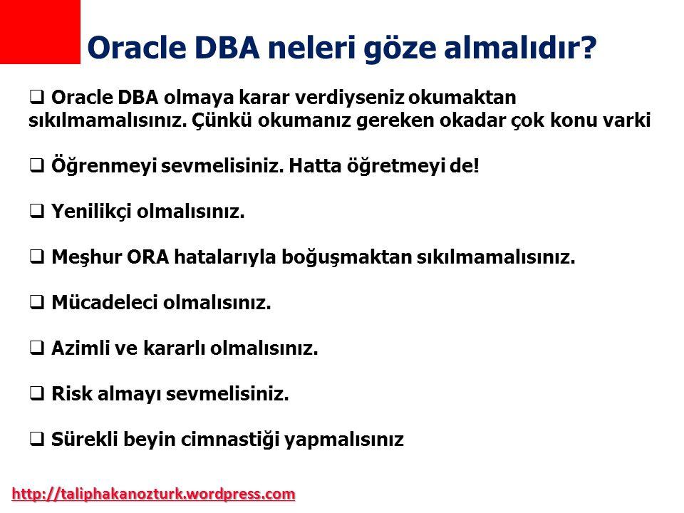 Oracle DBA neleri göze almalıdır
