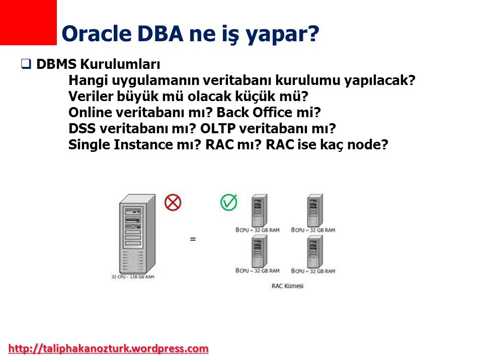 Oracle DBA ne iş yapar DBMS Kurulumları