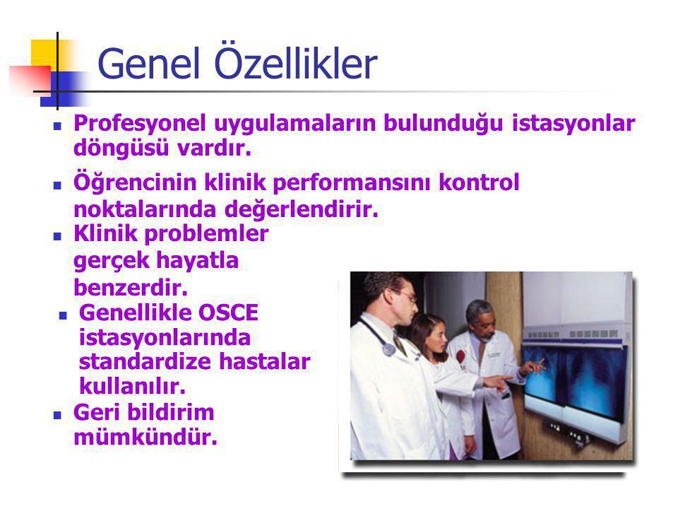 Genel Özellikler Profesyonel uygulamaların bulunduğu istasyonlar döngüsü vardır. Öğrencinin klinik performansını kontrol noktalarında değerlendirir.