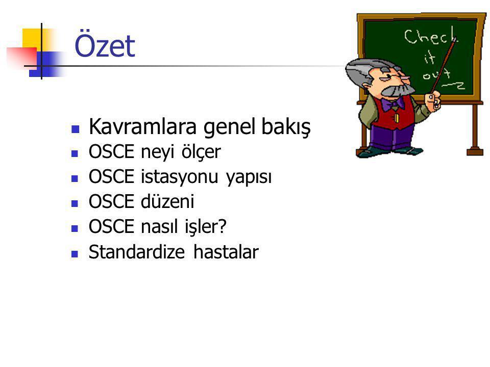 Özet Kavramlara genel bakış OSCE neyi ölçer OSCE istasyonu yapısı