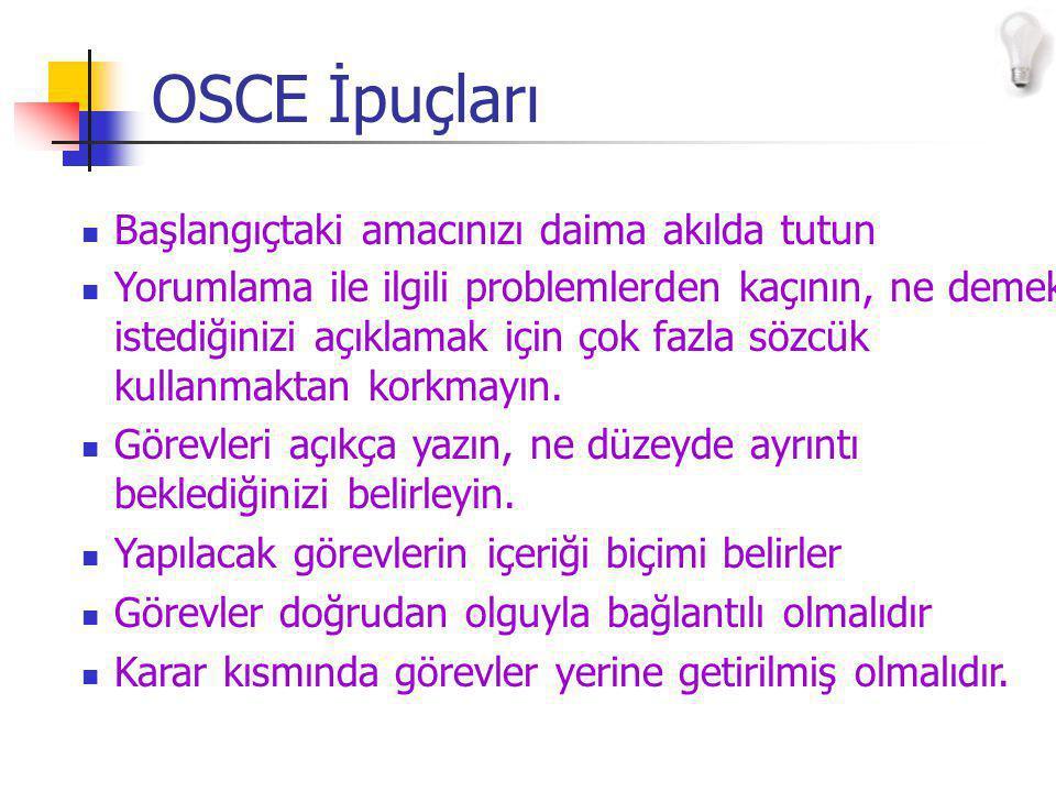 OSCE İpuçları Başlangıçtaki amacınızı daima akılda tutun