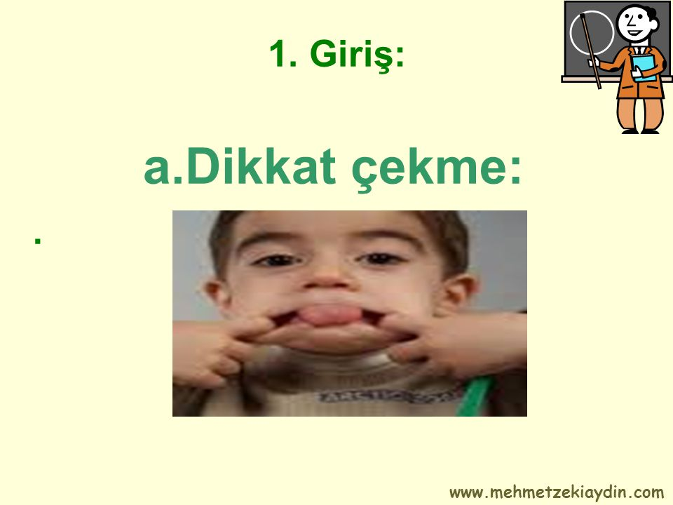 1. Giriş: a.Dikkat çekme: . www.mehmetzekiaydin.com
