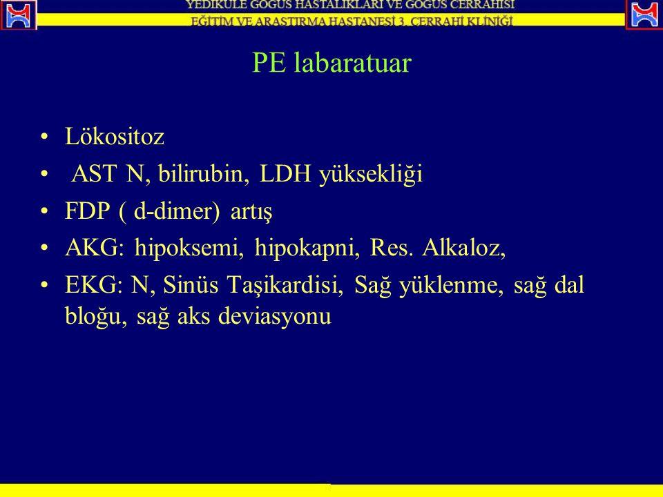 PE labaratuar Lökositoz AST N, bilirubin, LDH yüksekliği
