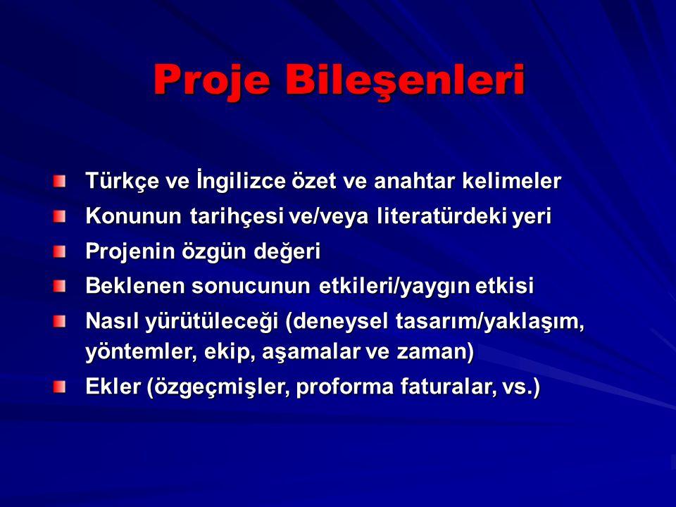 Proje Bileşenleri Türkçe ve İngilizce özet ve anahtar kelimeler